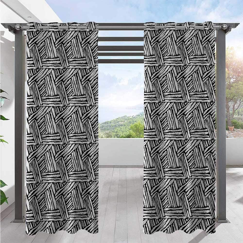 Print Outdoor Curtains Hand Drawn Doodle Style Sketch Brush Strokes Effect Traditional Ink Art Waterproof and Light Blocking Drapes Provid Cool Shade and Privacy Black White W108 x L96 Inch