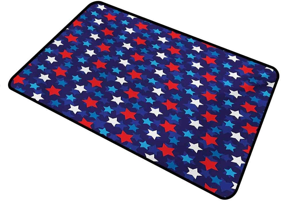 shirlyhome Door Mats Outside Navy Blue for Outdoor Entrance American Flag Inspired Patriotic Design with The Stars Image Rectangle 35 x 60 inch Red White Blue and Dark Blue