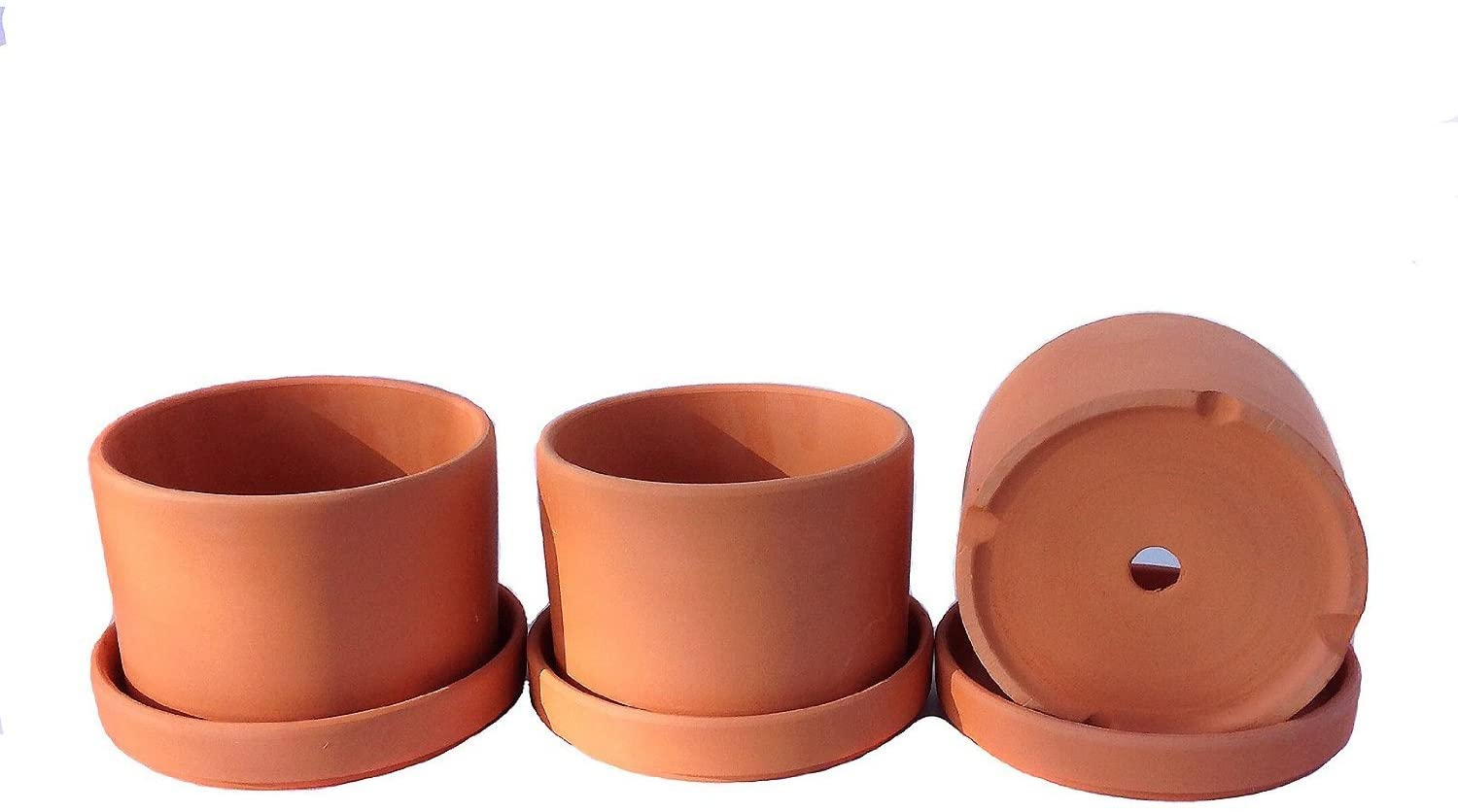 Natural Terracotta Round Fat Walled Garden Planters with Individual Trays. Set of 3