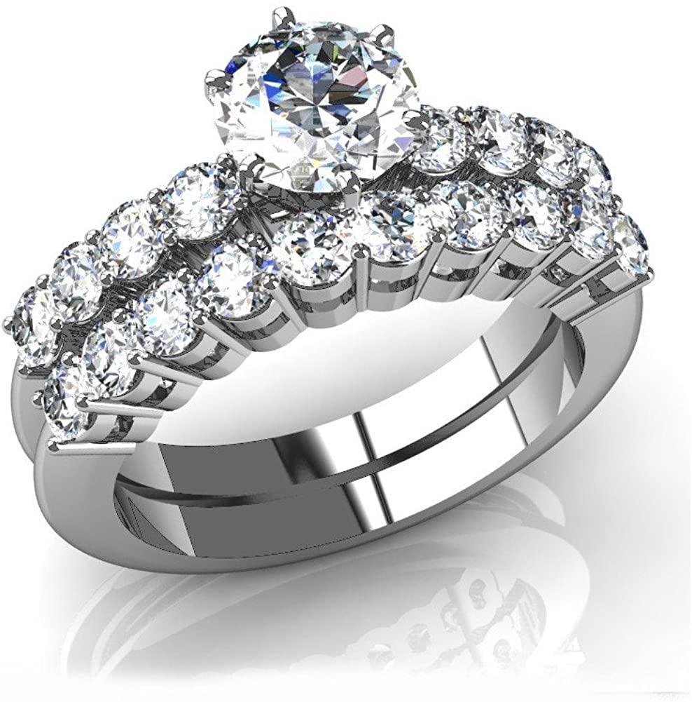 2.45 ct Round Cut Diamond Engagement Ring and Matching Wedding Band Bridal Set in Platinum