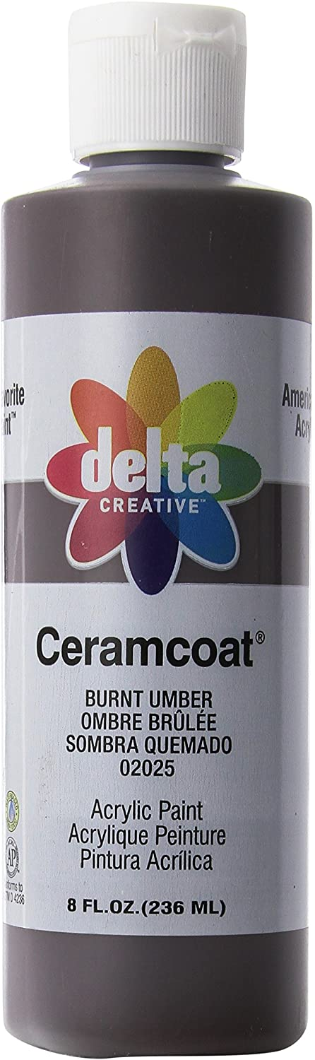Delta Creative Ceramcoat Acrylic Paint in Assorted Colors (8 oz), 020258, Burnt Umber