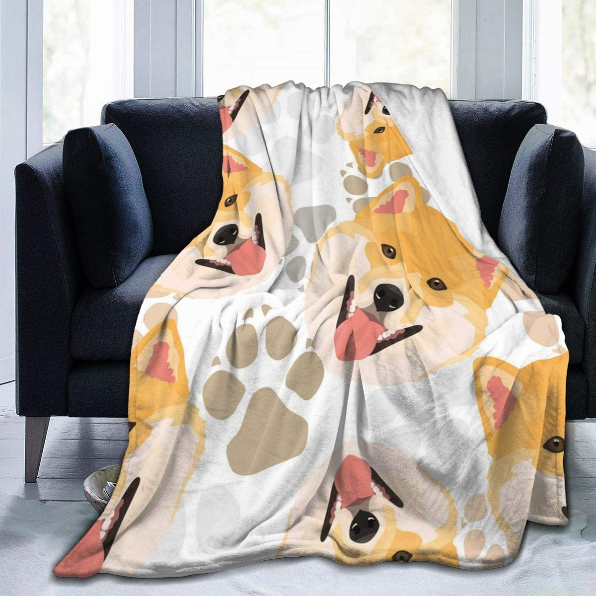 Dog Paws Shiba Inu Ultra Soft Flannel Fleece All Season Light Weight Living Room/Bedroom Warm Blanket