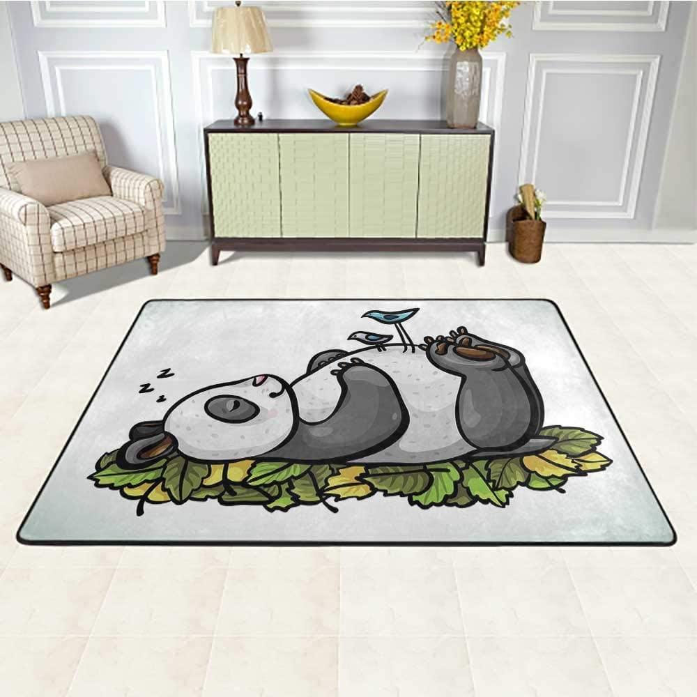 Funny Kids Rug 5' x 8', Sleeping Panda Bear and Birds on Her Belly Childish Friend Nature Cute Animal Cartoon HD Printed Rug, Multicolor
