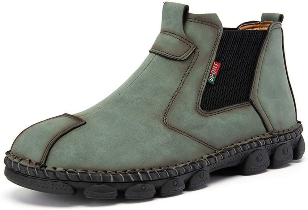 LIXIAOLAN Mens Fall/Winter Casual Daily Outdoor Boots Walking Shoes Leather Wear Proof Booties/Ankle Boots Light Yellow/Black/Dark Green,B,44