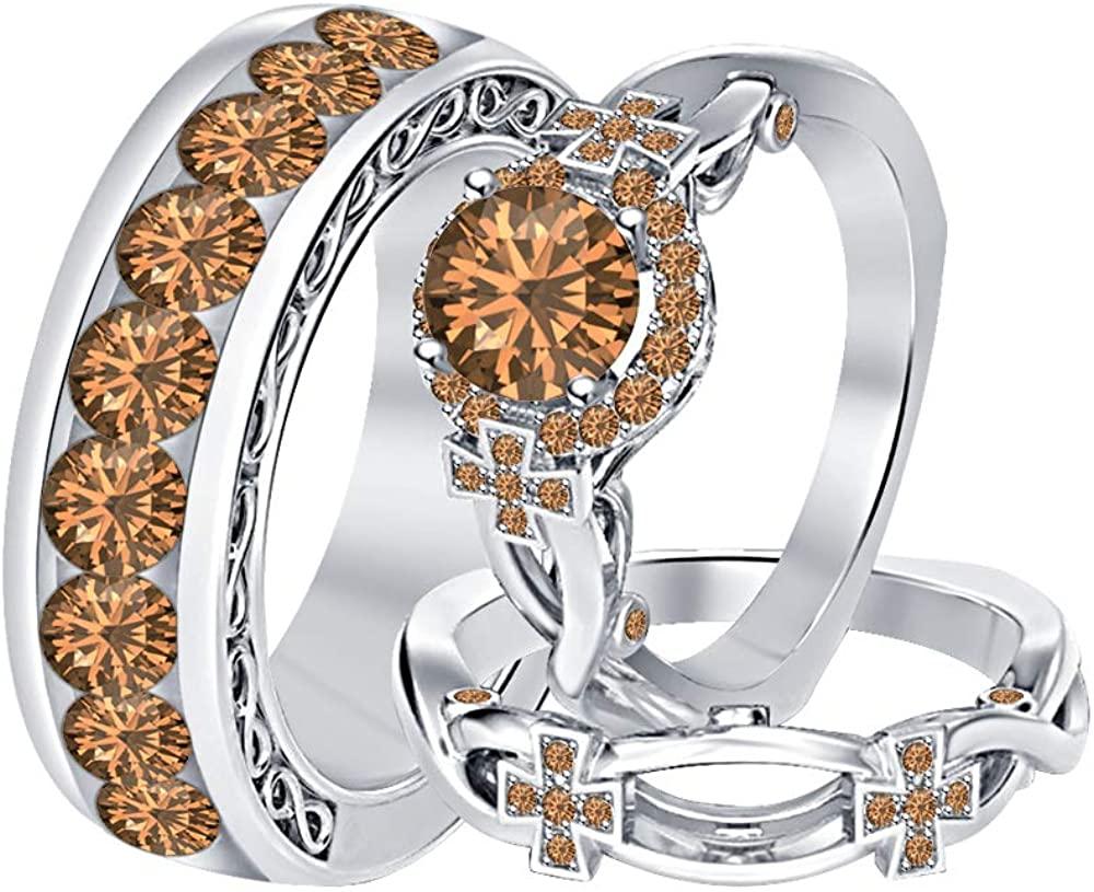 RUDRAFASHION Round Smoky Quartz 18K White Gold Over Sterling Silver Cross Engagement Wedding Band Bridal Trio Ring Set for Men's & Women's