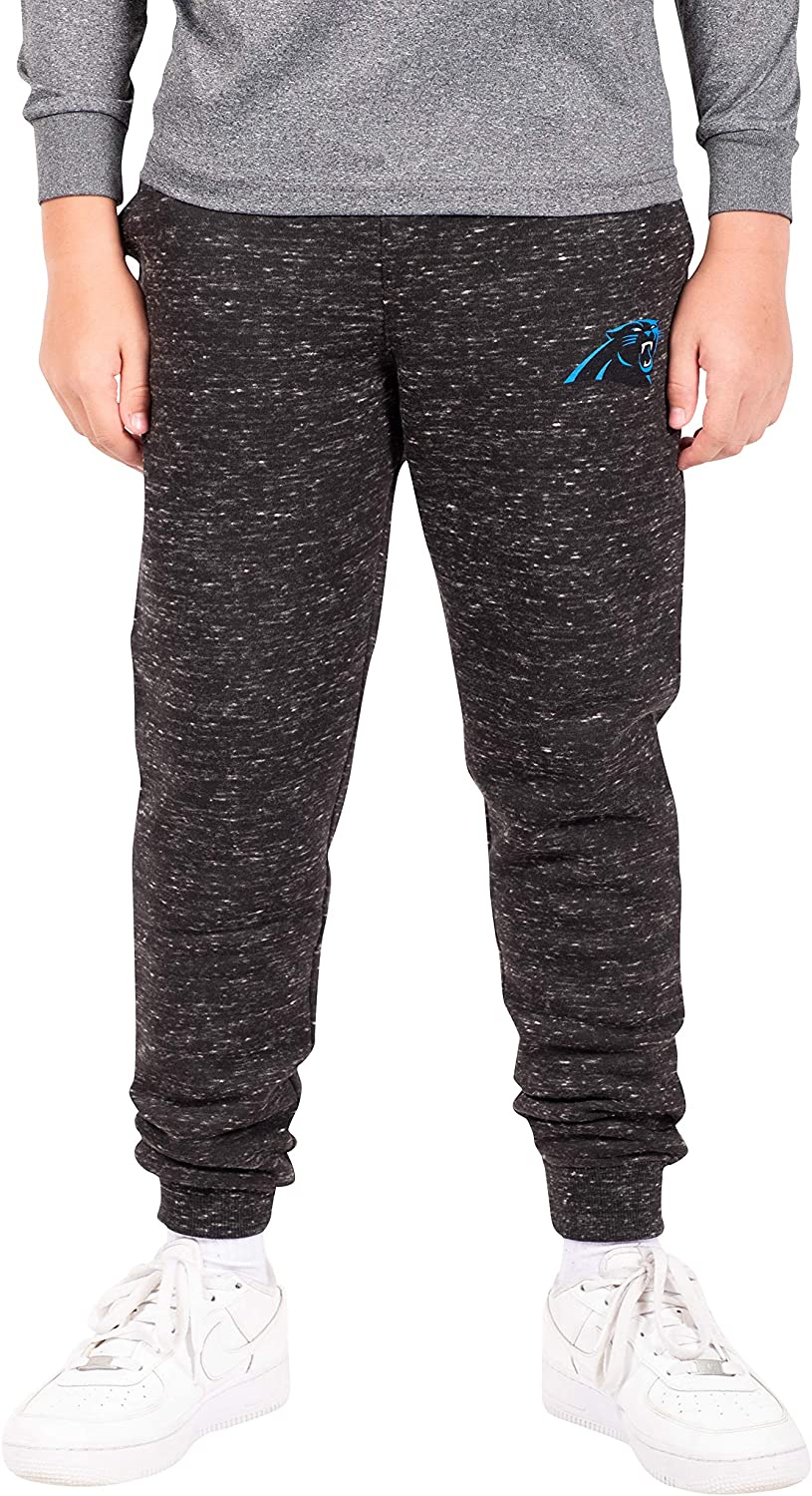 Ultra Game NFL Carolina Panthers Boys Extra Soft Black Snow Fleece Jogger Sweatpants, Black Snow, 10/12