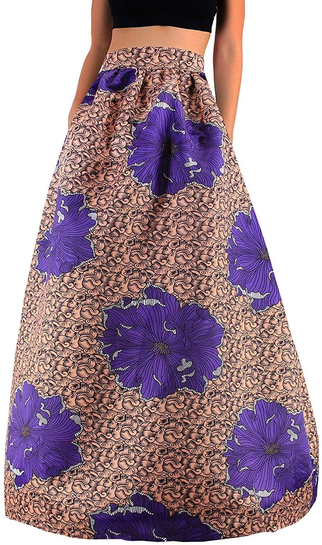 Giovacker Women's Africa Print Floral Skirt High Waisted Pleated Bohemia Maxi Long Dress Travel Beach