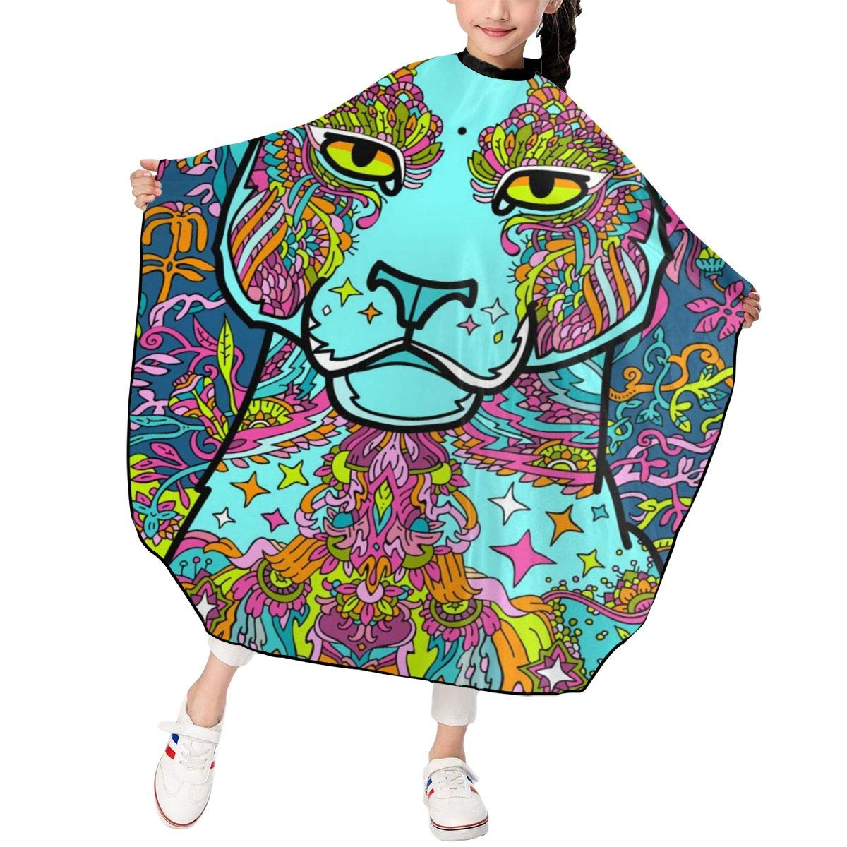 Barber Cape for Kids - Professional Hair Salon Cape with Adjustable Snap Closure Waterproof Hair Cutting Cape for Salon and Home 47 x 39 inches Colorful Jaguar Tiger
