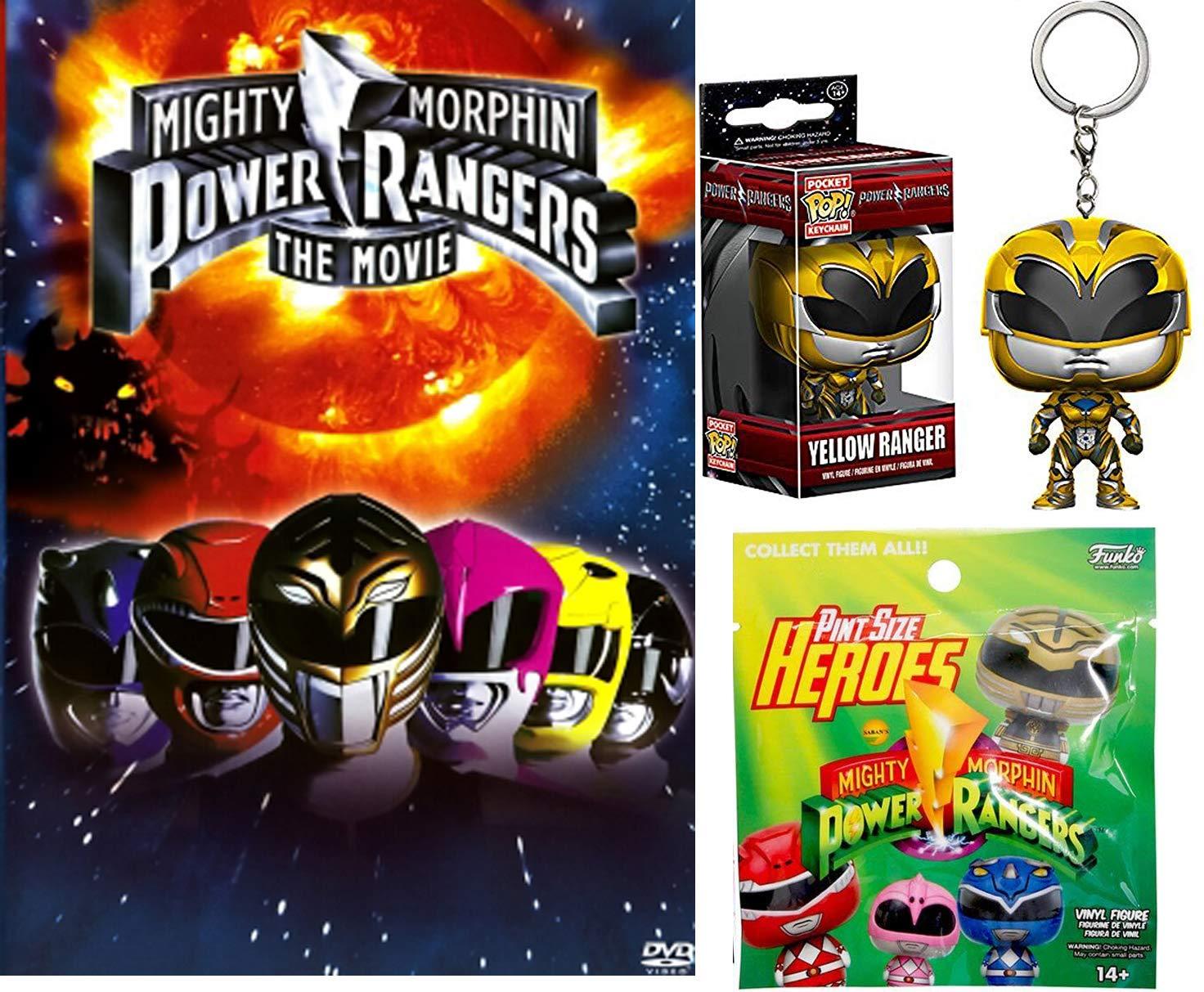 Yellow Power Ranger Pocket Keychain + Mighty Morphin Power Rangers The Movie DVD Pop Figure Pack W/ Bonus Pint Size Heroes Blind Bag