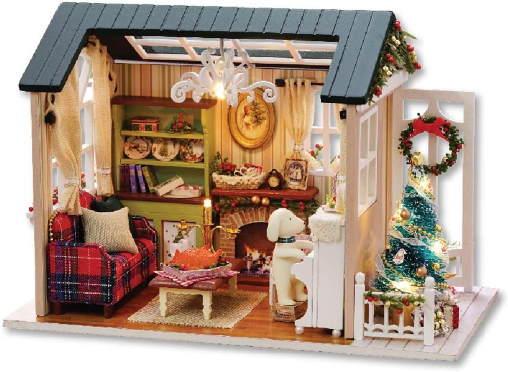 Flever Dollhouse Miniature DIY House Kit Creative Room with Furniture for Romantic Artwork Gift(Holiday Time)