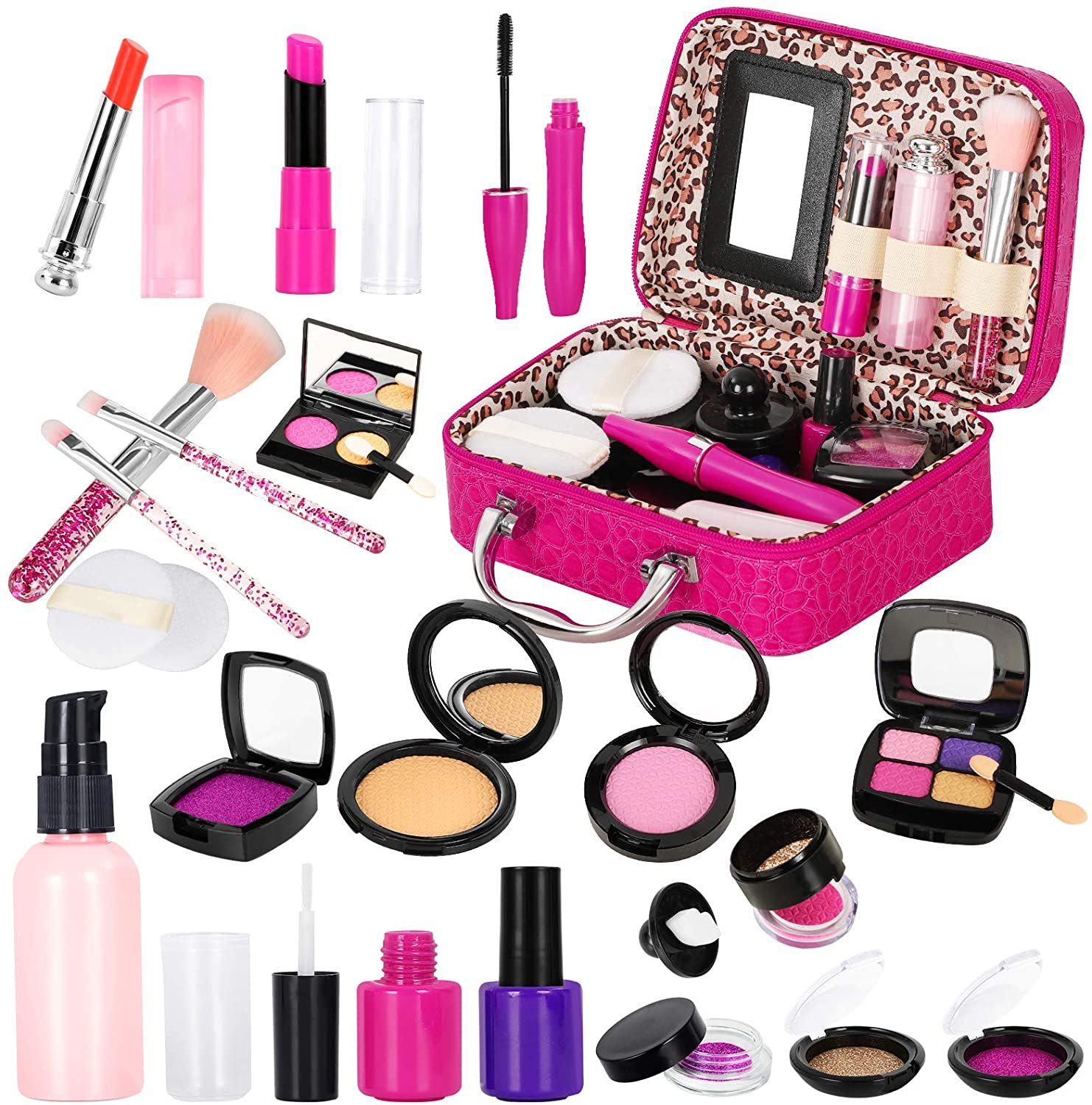 Kids Makeup Kit for Girls, Pretend Play Makeup Sets with Cosmetic Bag for Little Girls Birthday Safety Tested- Non Toxic