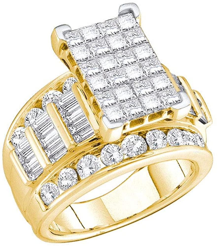 Diamond Engagement Ring + Wedding Band Bridal Set 3.00ct - Size 6 14k Yellow Gold
