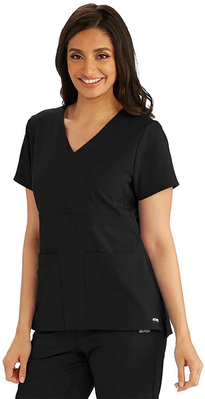 Grey's Anatomy GRST027 Women's 3 Pocket Empire Back Button Scrub Top Black 2XL