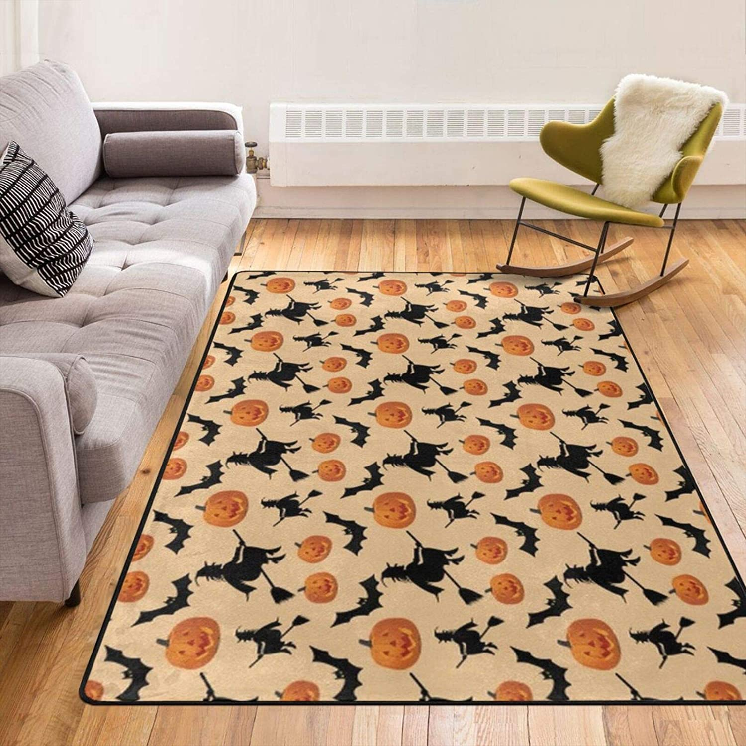 Contemporary Home Decor Non-Slip Halloween Witch Pumpkin Pattern Carpet Large Floor Mat for Living Room Bedroom Children Playroom Dormitory 60 X 39 Inch Area Rug