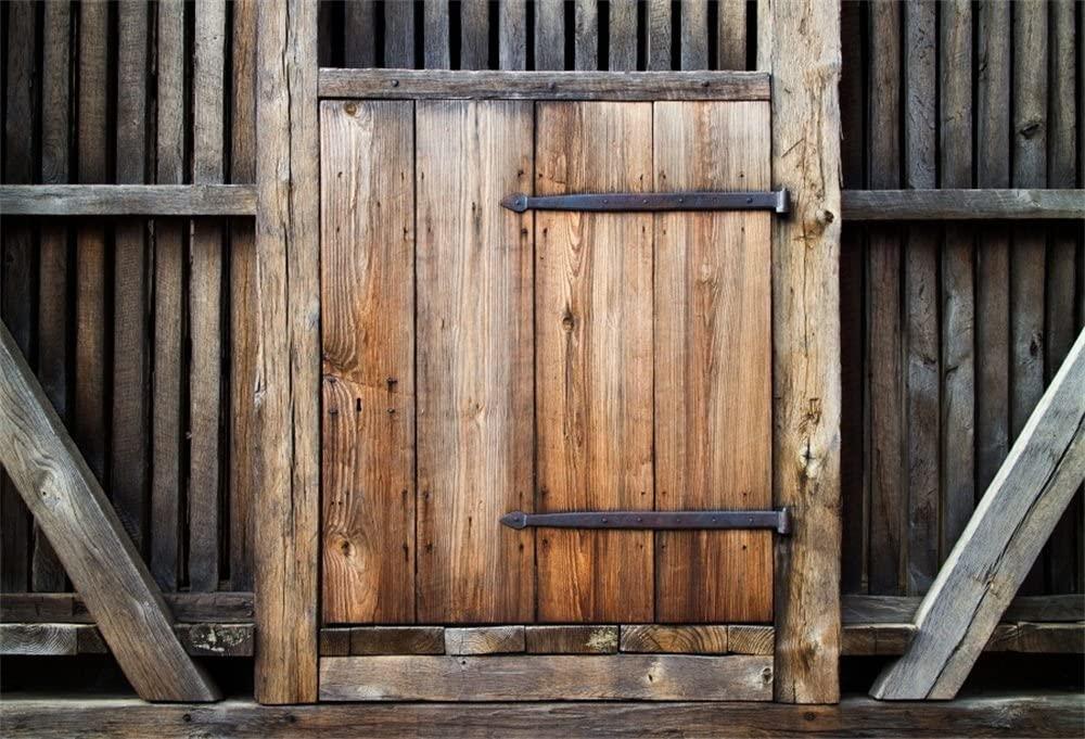 LFEEY 10x8ft Antique Wooden Door Backdrop Wood Hardwood Doorway Gate Lock Barn Entrance Photo Back Drop Portrait Travel Photography Background Studio Props
