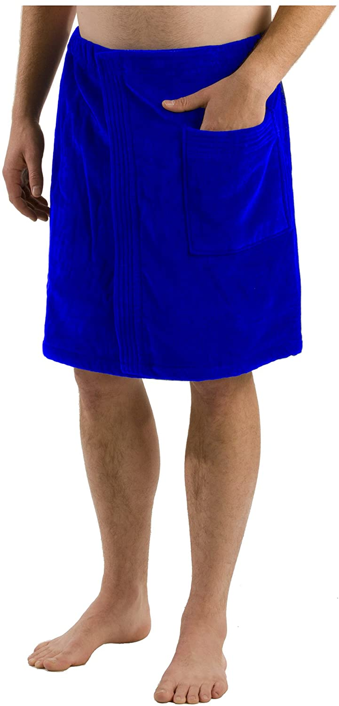 Terry Cotton Towel for Mens Bath Wrap, Royal Blue-One Size