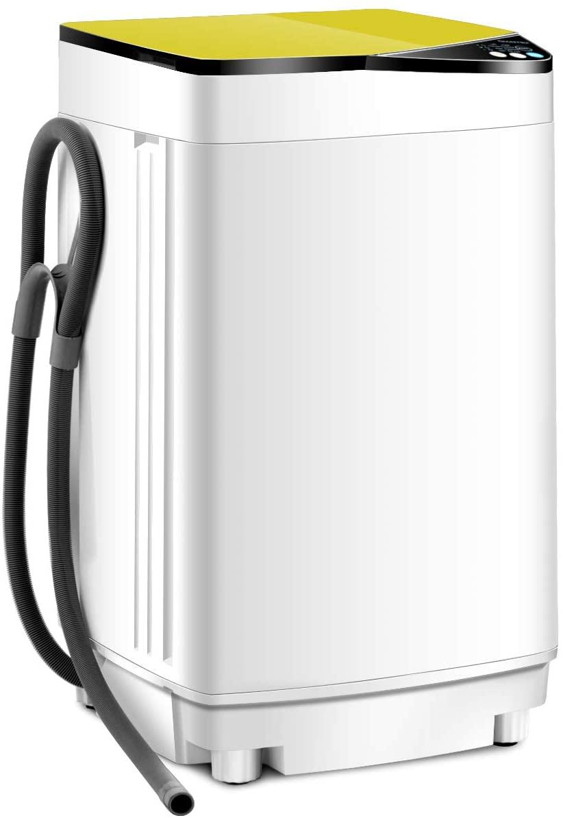 RELAX4LIFE Washing Machine Portable Washer W/ 7.7 Lbs Weight Capacity Washer and Dryer Full Automatic Washing Machine (Yellow& White)