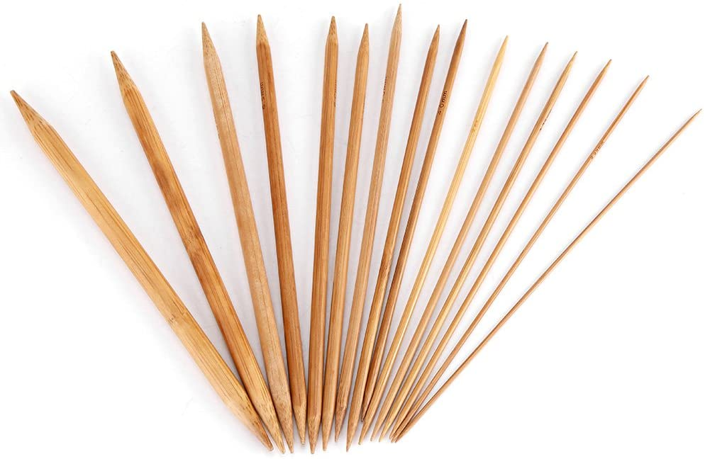Bamboo Knitting Needle, Bamboo Knitting Needles Smooth Double Pointed Set 15 Sizes from 2mm to 10mm for Sweater, Hat, Scarf, Gloves, Socks, Shoes