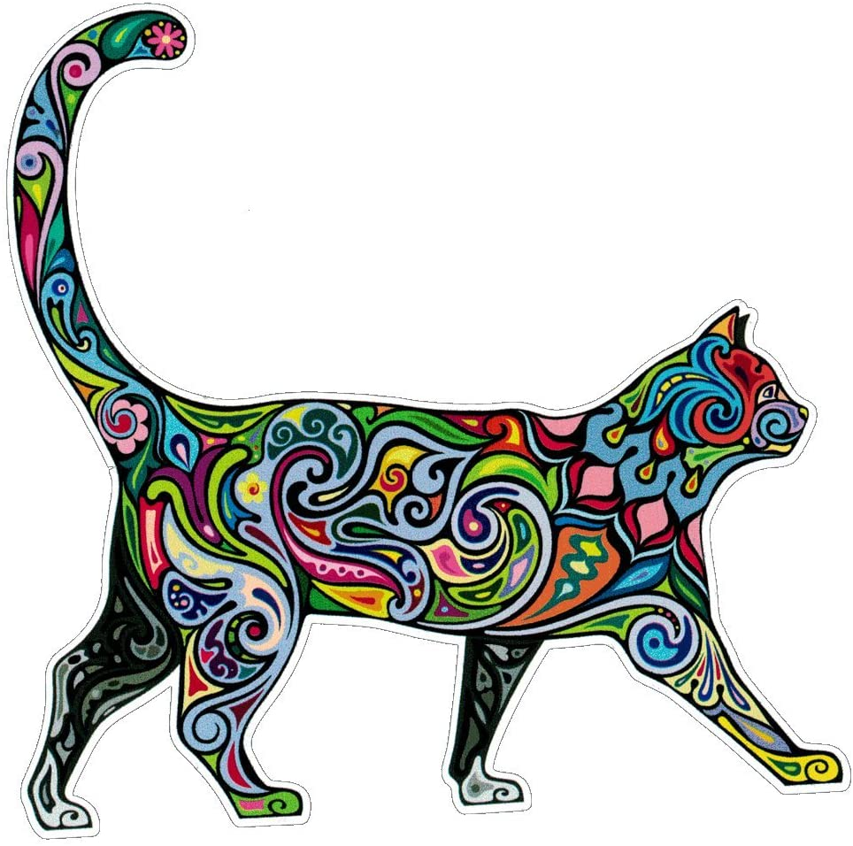 UNIQUE BRIGHT Cheerful Cat - Bumper Sticker/Decal (4.5