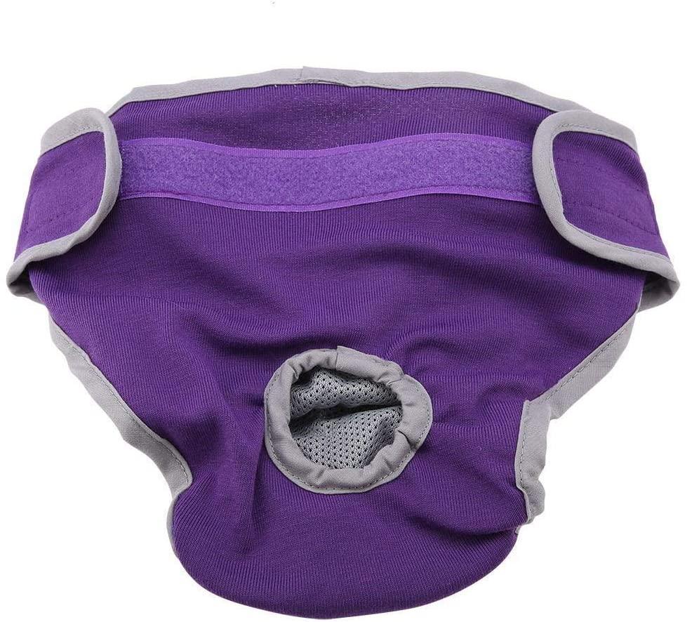 Conlense Dog Cotton Pants Puppy Underwear Female Physiological Pants Pet Sanitary Diaper(Purple,M)