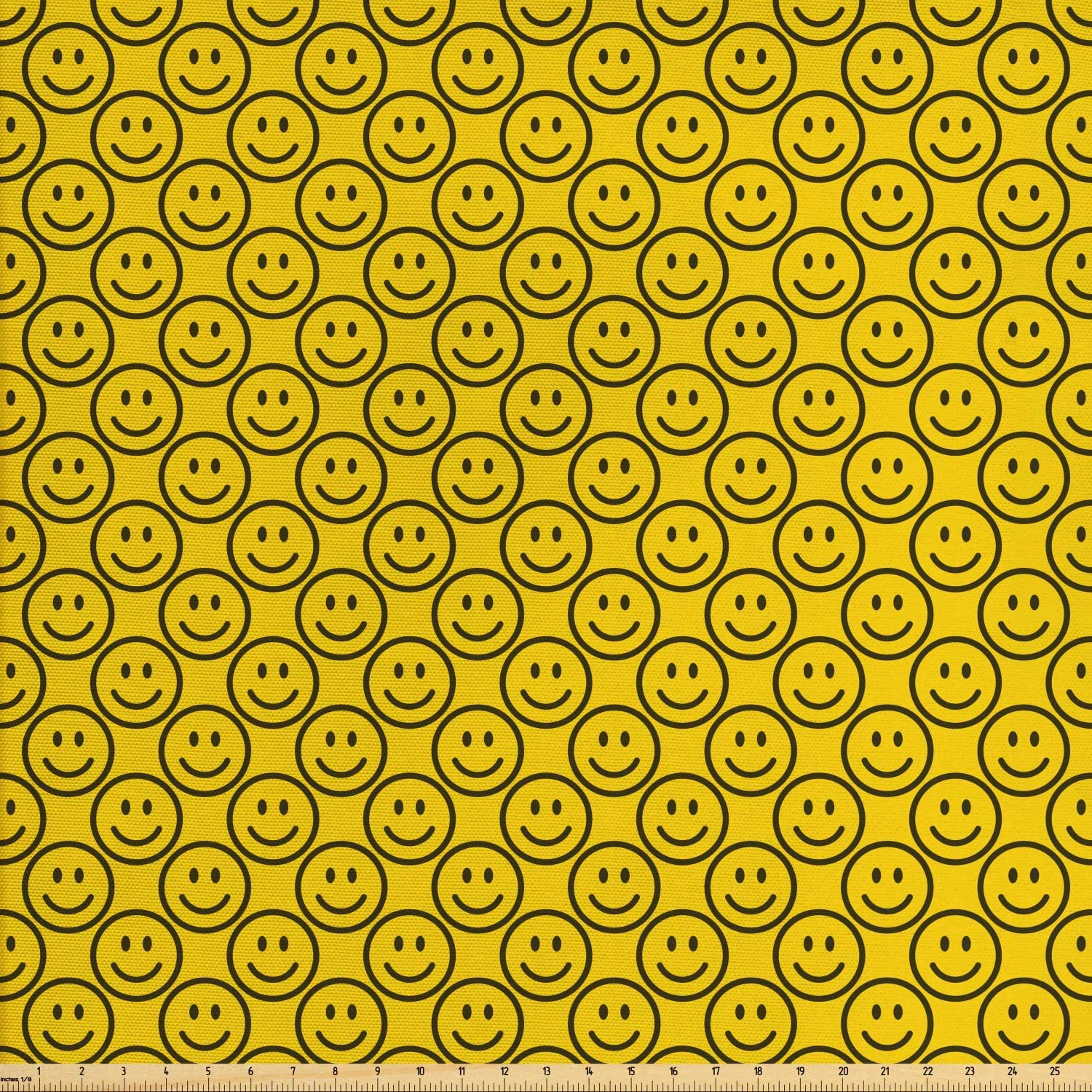 Ambesonne Emoji Fabric by The Yard, Flat Smiley Faces Expressing Happiness in Diagonal Order Joyful Childhood, Decorative Fabric for Upholstery and Home Accents, 3 Yards, Yellow Green