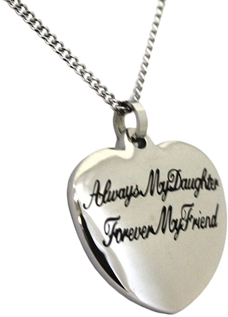 Rush Industries Always My Daughter Forever My Friend Small Heart Pendant Necklace with 18 Inch Chain Mother Daughter Gift
