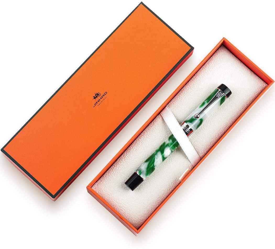 JINHAO Centennial 100 Fountain Pen 18KGP Golden Plated Acrylic Ink Pen (Green and White, M Nib)