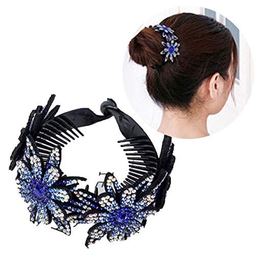 Rhinestone Hair Bun Claws Holders,Rhinestone Flower Ponytail Holder Twist Bun Shaper Women Hair Grips Claw M(3PCS) Blue