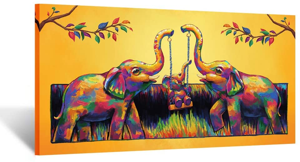 Kreative Arts Original Design Large Contemporary Painting Abstract Colourful Elephant Canvas Print Wall Art Picture for Living Room Bedroom Wall Decor Gift 20x40inch