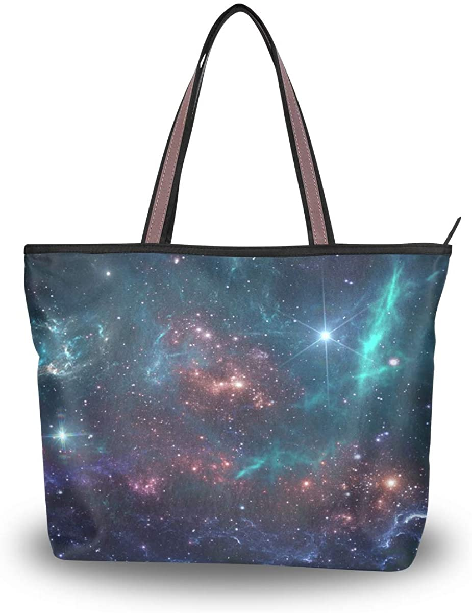 Woman Tote Bag Starry Sky Shoulder Handbag for Work Travel Business Beach Shopping School