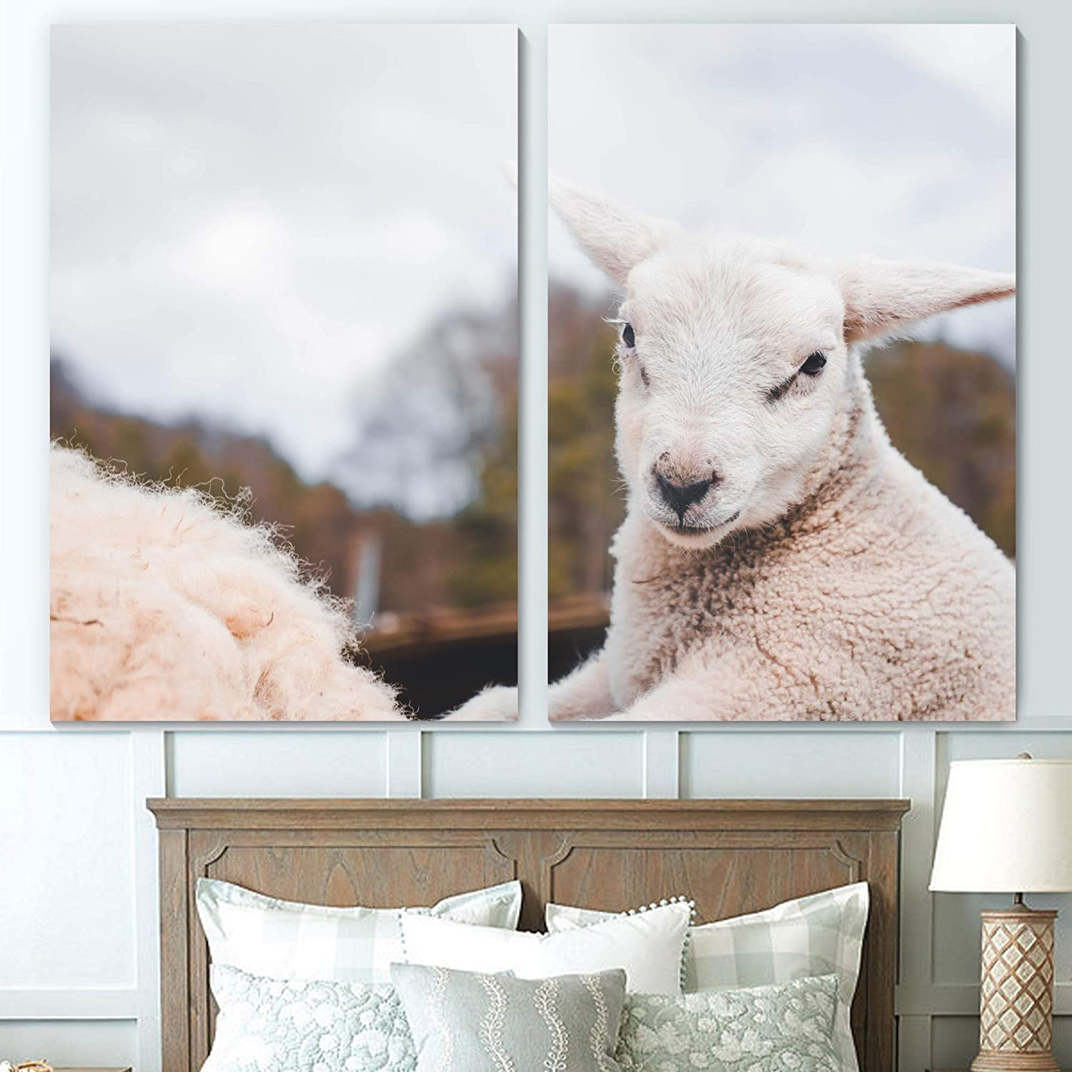 Sign Leader Sheep Wall Art Animals Expressionism Multicolor Photography Farmhouse/Country Fun Canvas Prints for Living Room Bedroom - 24x36 x 2 Panels
