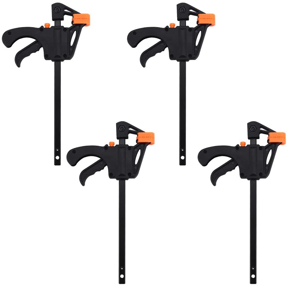 F Bar Clamp, F Woodworking Clamp 4Inch Bar F Clamp Clip Wood Carpenter Tool Grip Quick Ratchet Release Squeeze Woodworking DIY Hand Tool Kit (Pack of 4)
