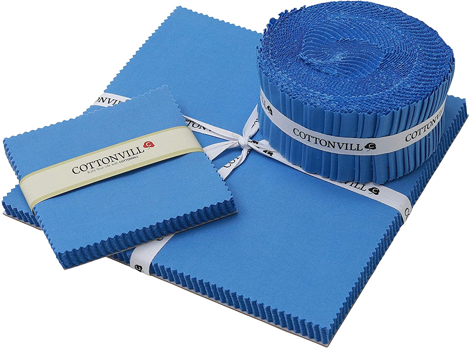 COTTONVILL 20COUNT Cotton Solid Quilting Fabric (2.5inch Strip, 35-Azure Blue)