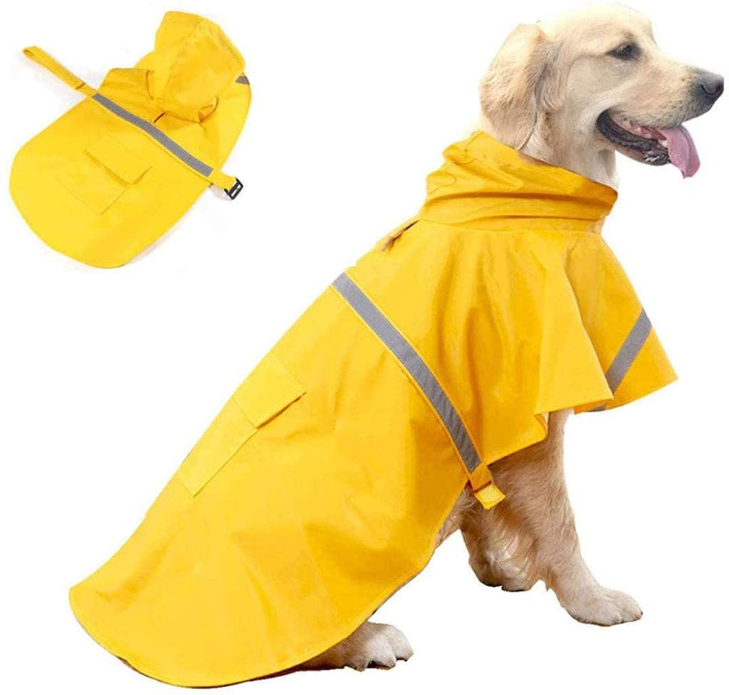 ZPP Pet Dog Raincoat Harness Poncho Hoodies Vest Lifejackets Waterproof Coat Adjustable Snow Lightweight Safe Reflective Strip Anti-Slip Windproof Snowproof Medium Large Puppies Gift