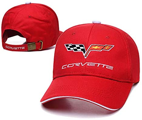 Westion Red Color Car Logo Embroidered Adjustable Baseball Caps for Men and Women Hat Travel Cap Car Racing Motor Hat (fit Corvette)