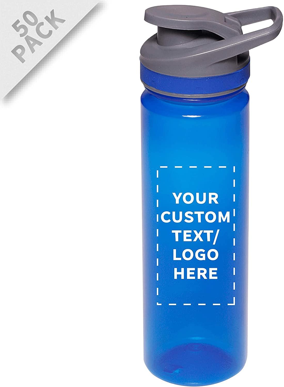 Plastic Sports Water Bottles with Flip Lid 22 oz - 50 pack - Customizable Text, Logo - Sport Drinking Leak Proof Reusable Bottle - Blue