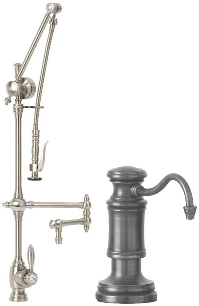 Waterstone 4410-12-2-CH Towson Kitchen Faucet Single Handle with 12-Inch Articulated Spout, Pull Out Spray and Soap/Lotion Dispenser, 2-Piece