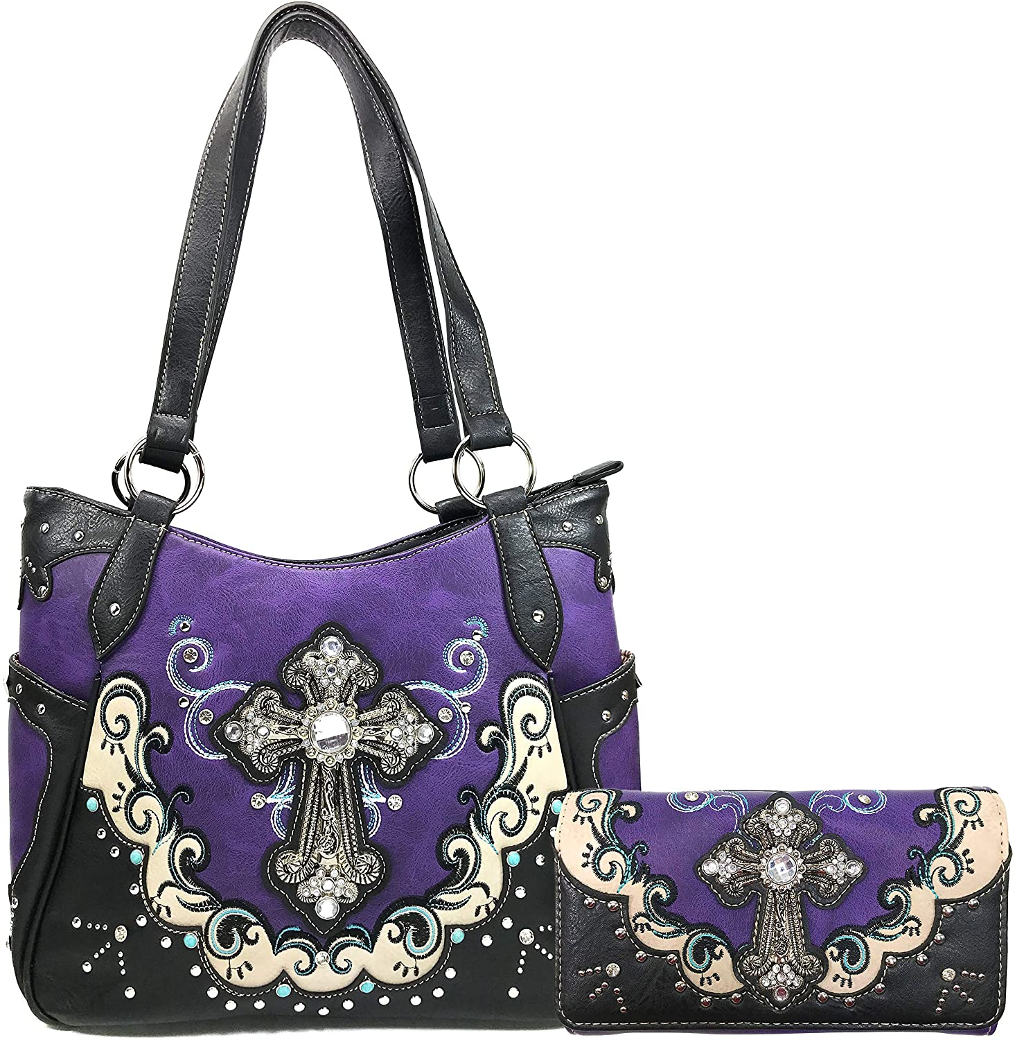 Justin West Mustang Cross Handbag Purse For Girls Women Concealed Carry