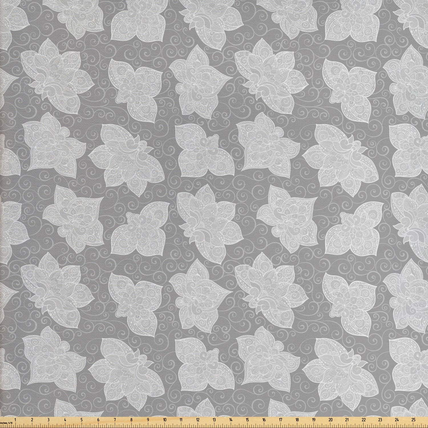 Ambesonne Floral Fabric by The Yard, Detailed Ornaments Curlicue Zentangle Style Bicolored Flowers Illustration, Decorative Fabric for Upholstery and Home Accents, 1 Yard, Pale Grey and Pearl