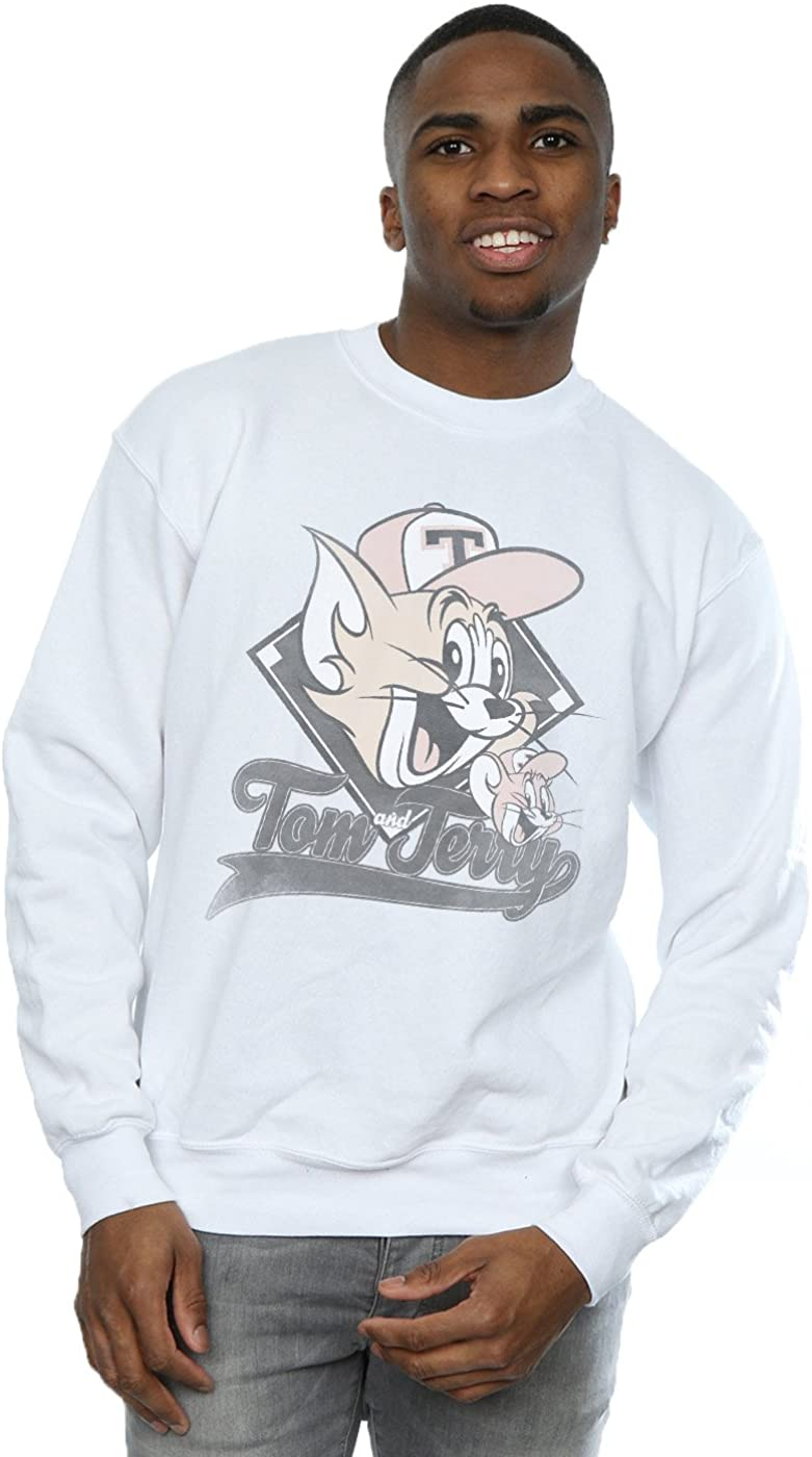 Tom and Jerry Men's Baseball Caps Sweatshirt White Small