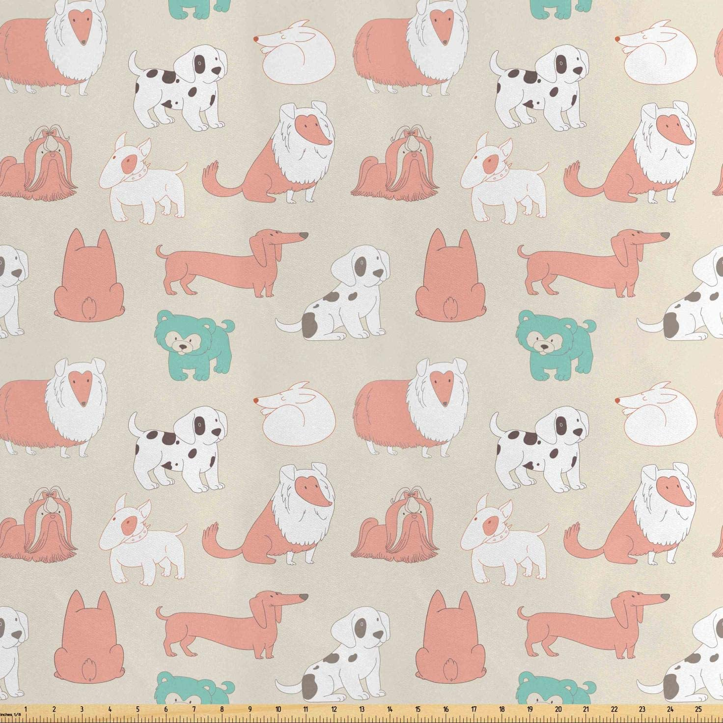 Lunarable Puppy Fabric by The Yard, Baby Dalmation Dogs Beagle Labrador Terrier Pets Childish Playroom Pastel Cartoon, Decorative Satin Fabric for Home Textiles and Crafts, 3 Yards, Multicolor