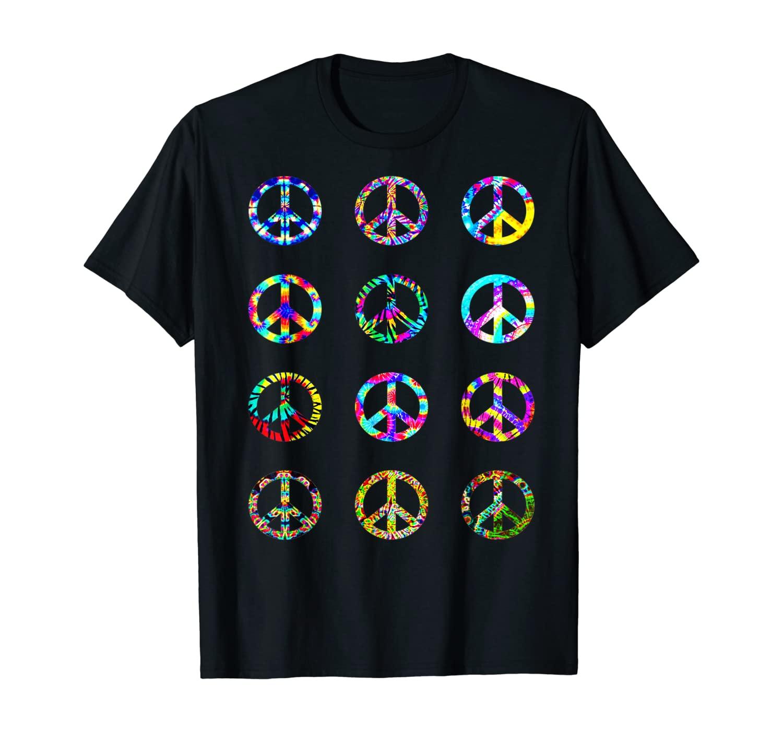 Tie Dye Peace Sign Trendy Graphic Hippie Print 80s 90s T-Shirt