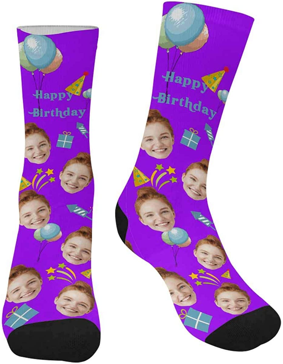 Custom Happy Birthday Socks, Balloons Unique Socks with Your Face Photo Pet for Men Women
