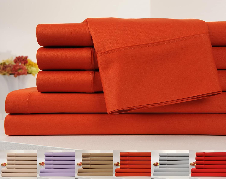 Cifelli Home OrganicPro 100% Organic Cotton Bed Sheet Set 4 Piece Cotton Sheets Set (Full, Orange)
