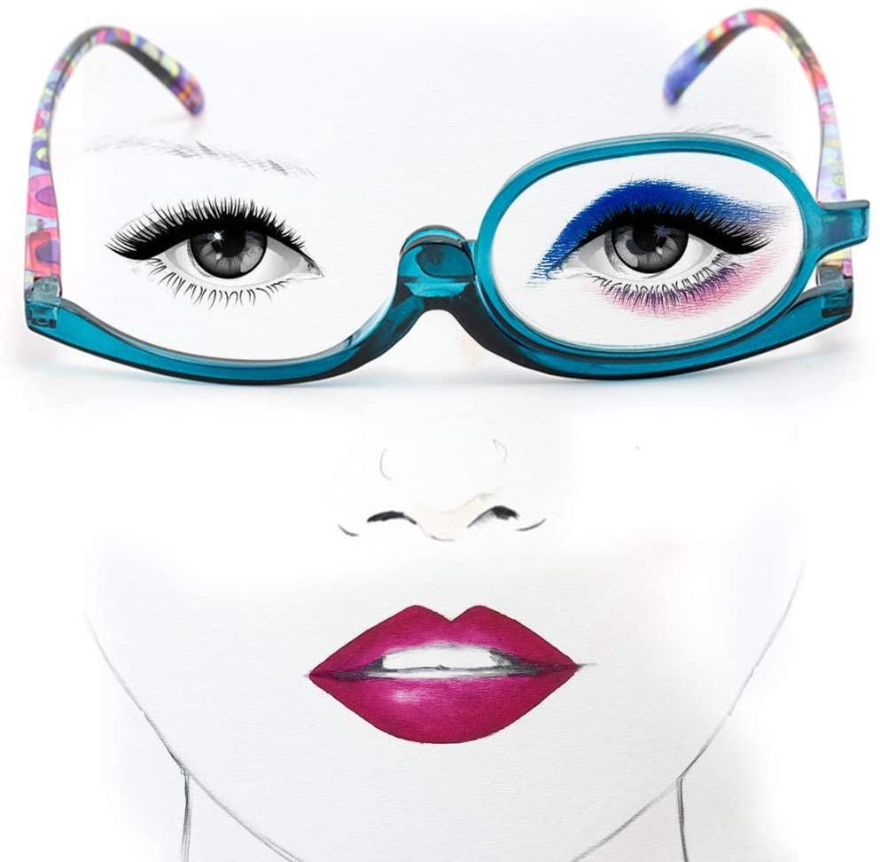 Reading Glasses Magnifying Rotating Glasses, Makeup Glasses, Adjustable Color Printing Glasses, Visual Impairment (Blue, 1.5)
