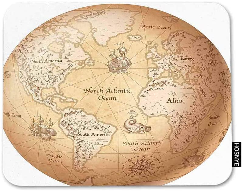 HOSNYE Globe Mousepad Non-Slip Rubber Gaming Mouse Pad Map of The World Rectangle Mouse Pads for Computers Laptop