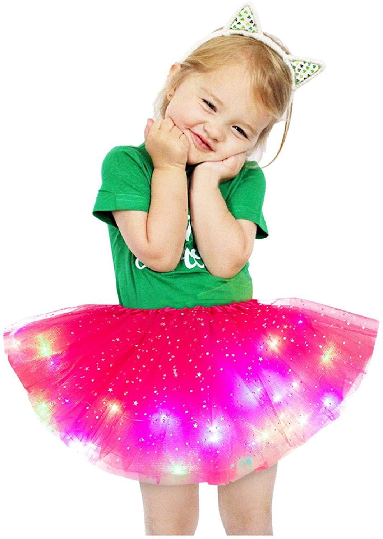 BATKKM LED Light Up Glitter Star Sequins Ballet Dance Multilayer Fluffy Tulle Tutu Skirt for 2-8 Years Kids Girls(Hot Pink)