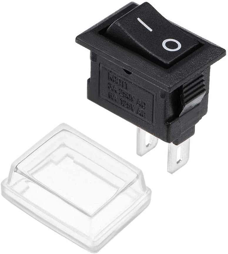 uxcell SPST Mini Boat Rocker Switch With Waterproof Case Black Toggle Switch for Boat Car Marine ON/OFF AC 250V/3A 125V/6A 1pcs