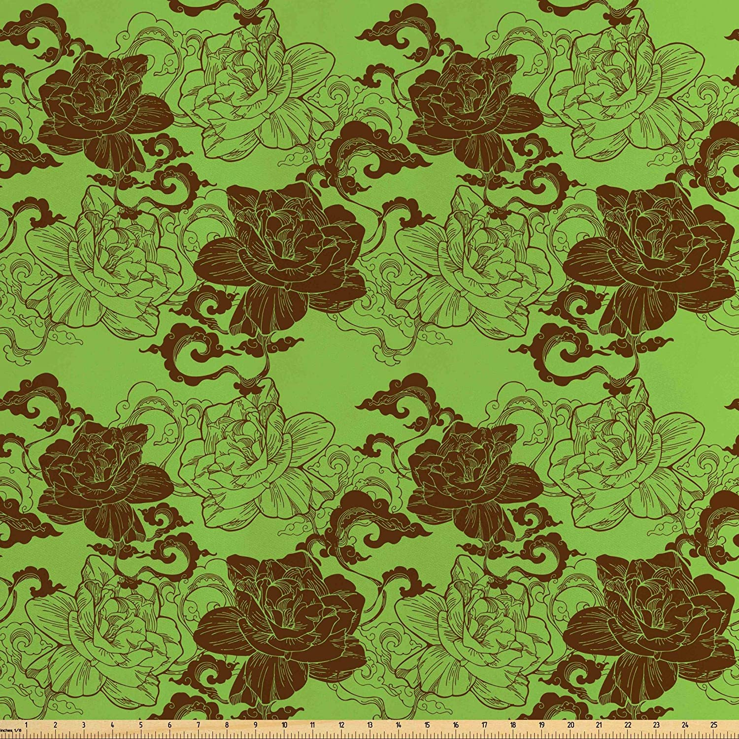 Lunarable Green Oriental Fabric by The Yard, Botanical Chinese Fantasy Design Curvy Lines Clouds Gardenia, Decorative Satin Fabric for Home Textiles and Crafts, 1 Yard, Apple Green and Chocolate