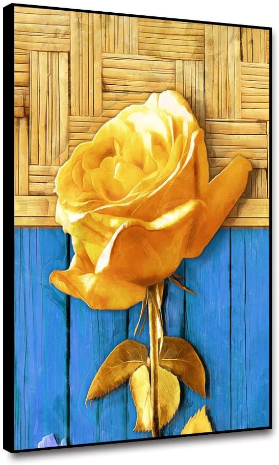 Cassisy A Golden Rose Flower On Gold and Blue Wood Texture Background Canvas Wall Art Framed Poster for Home Decor Modern Wall Picture Canvas Prints 8x10inch Canvas Painting for Living Room Bedroom